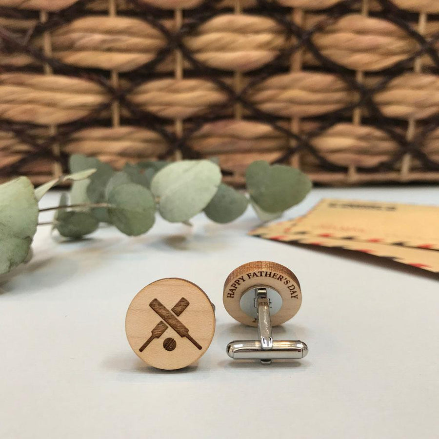 Secret message Wooden cufflinks - Cricket bat