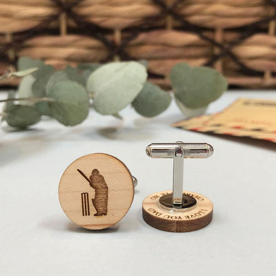 Secret message Wooden cufflinks - Cricket player