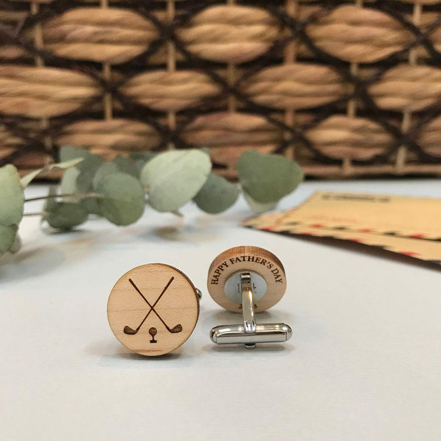 Secret message Wooden cufflinks - Golf