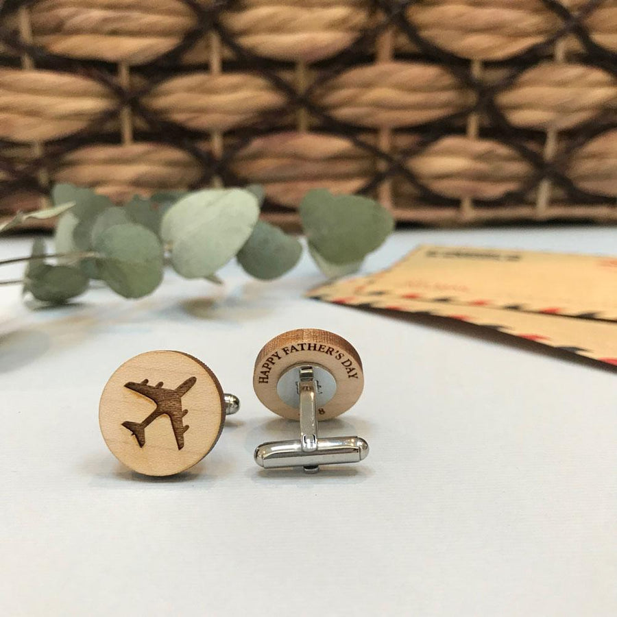 Secret message Wooden cufflinks - Plane & travel
