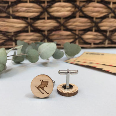 Secret message Wooden cufflinks - Skiier