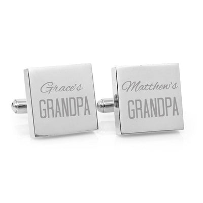 That's My Daddy – Engraved square silver and black cufflinks - Script font
