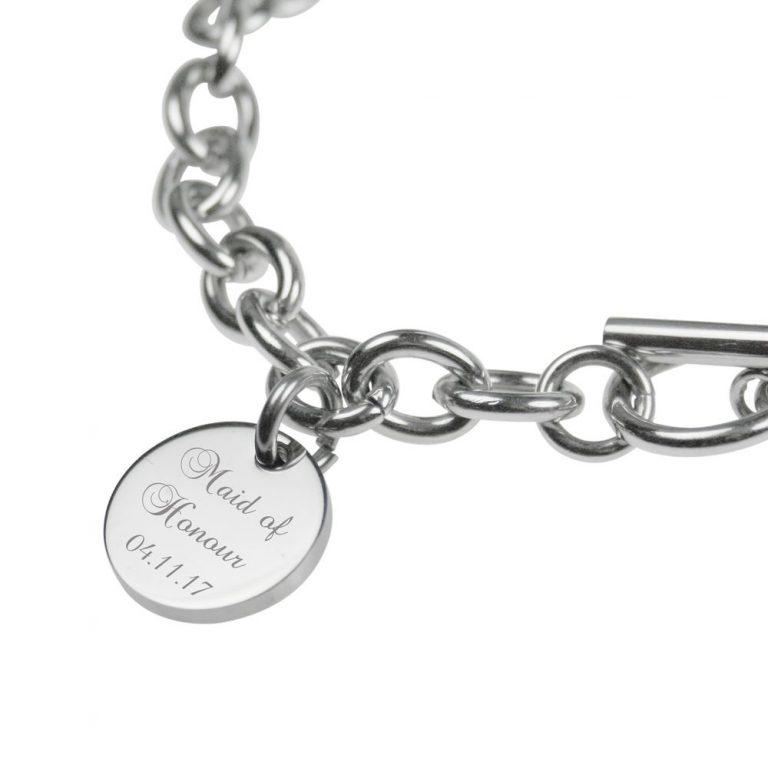 Silver Engraved Personalised Bracelet – Bridesmaid, Maid of Honour