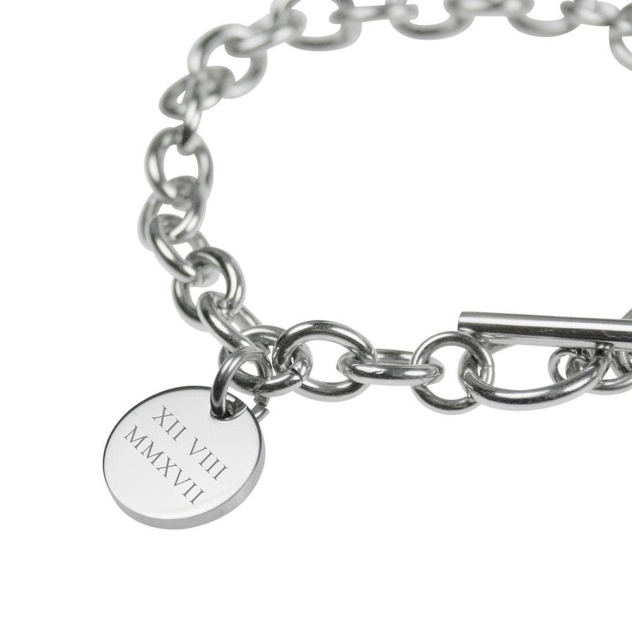 Silver Engraved Personalised Bracelet – Roman numerals