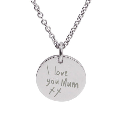 Silver Engraved Pendant featuring your child's writing or drawing