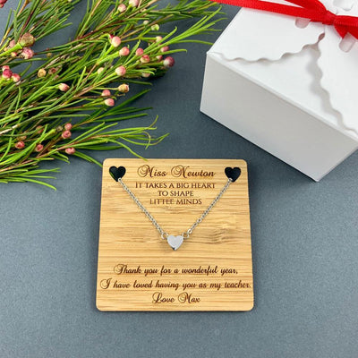 Personalised Teacher Gift - Pendant - Big Heart to Shape Little Minds