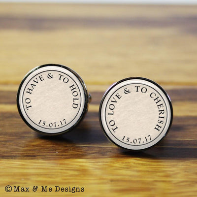 The Vows – round stainless steel cufflinks (Vintage background)