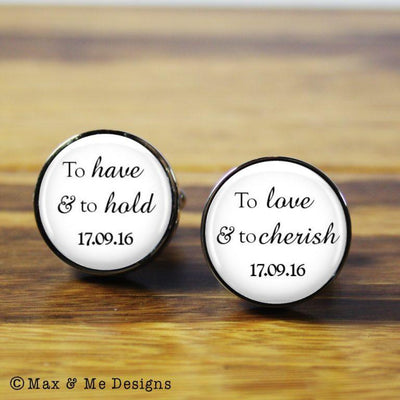 The Vows – round stainless steel cufflinks (White background)