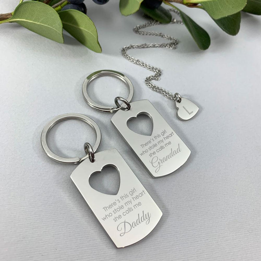 Personalised Daddy and daughter keyring pendant set - She stole my heart