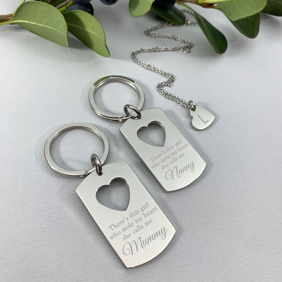 Personalised Mummy and daughter keyring pendant set - She stole my heart