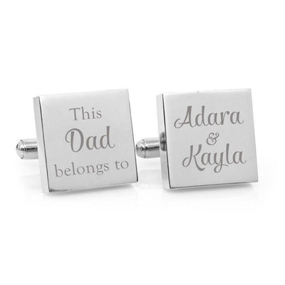 This Daddy Belongs To – Engraved square stainless steel cufflinks