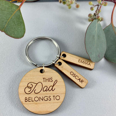 Wooden keyring - This Daddy belongs to
