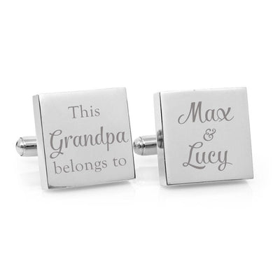 This Grandpa Belongs To – Engraved square stainless steel cufflinks