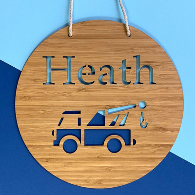Laser cut bamboo name sign - Truck