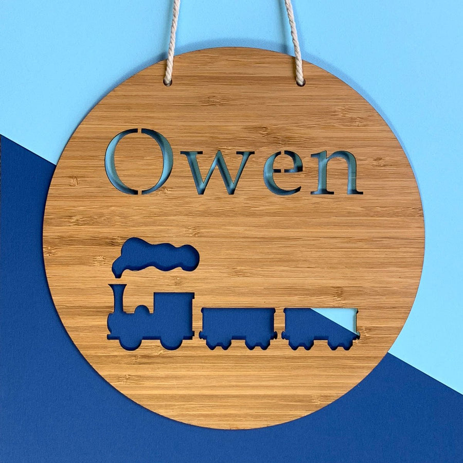 Laser cut bamboo name sign - Train