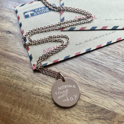 Rose Gold Engraved Pendant featuring your child's writing or drawing