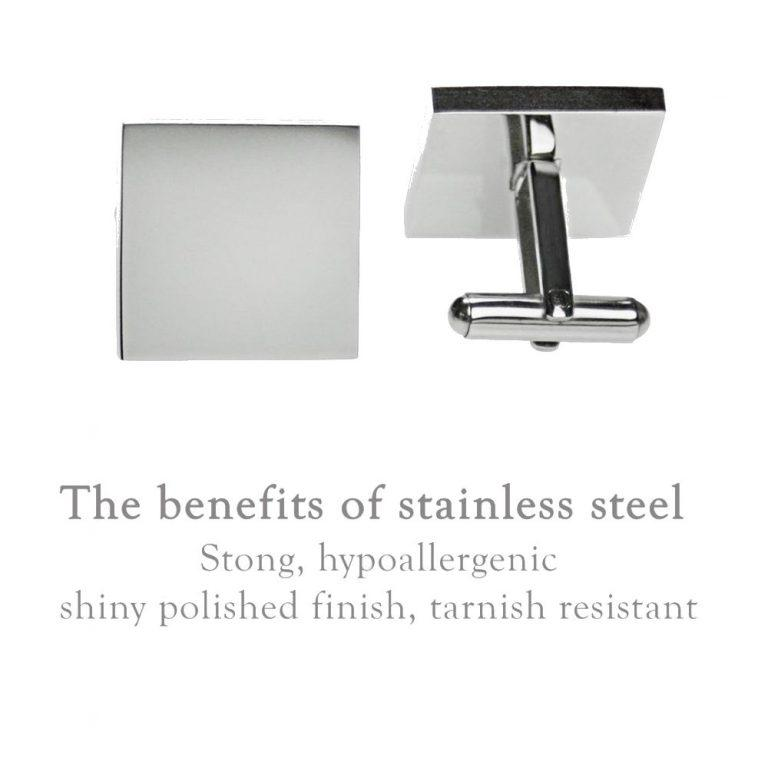 Best Man – Minimalist Engraved square stainless steel cufflinks