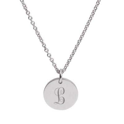 """The Lucy"" Silver Engraved Monogram Letter Pendant"
