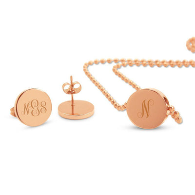 Rose Gold Engraved Monogram Slider Pendant & Earrings Set (3 font options)