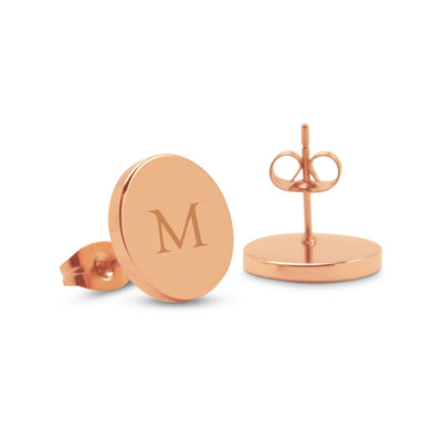 Personalised Rose Gold Monogram Earrings (Classic font)