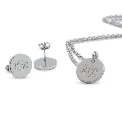 Silver Engraved Monogram Lucy Pendant & Earrings Set