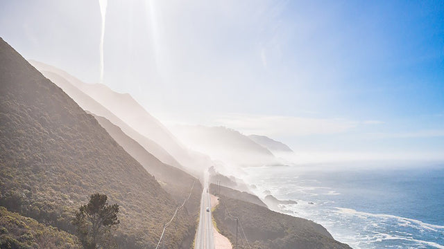 Aerial view of pacific coast highway overlooking the ocean