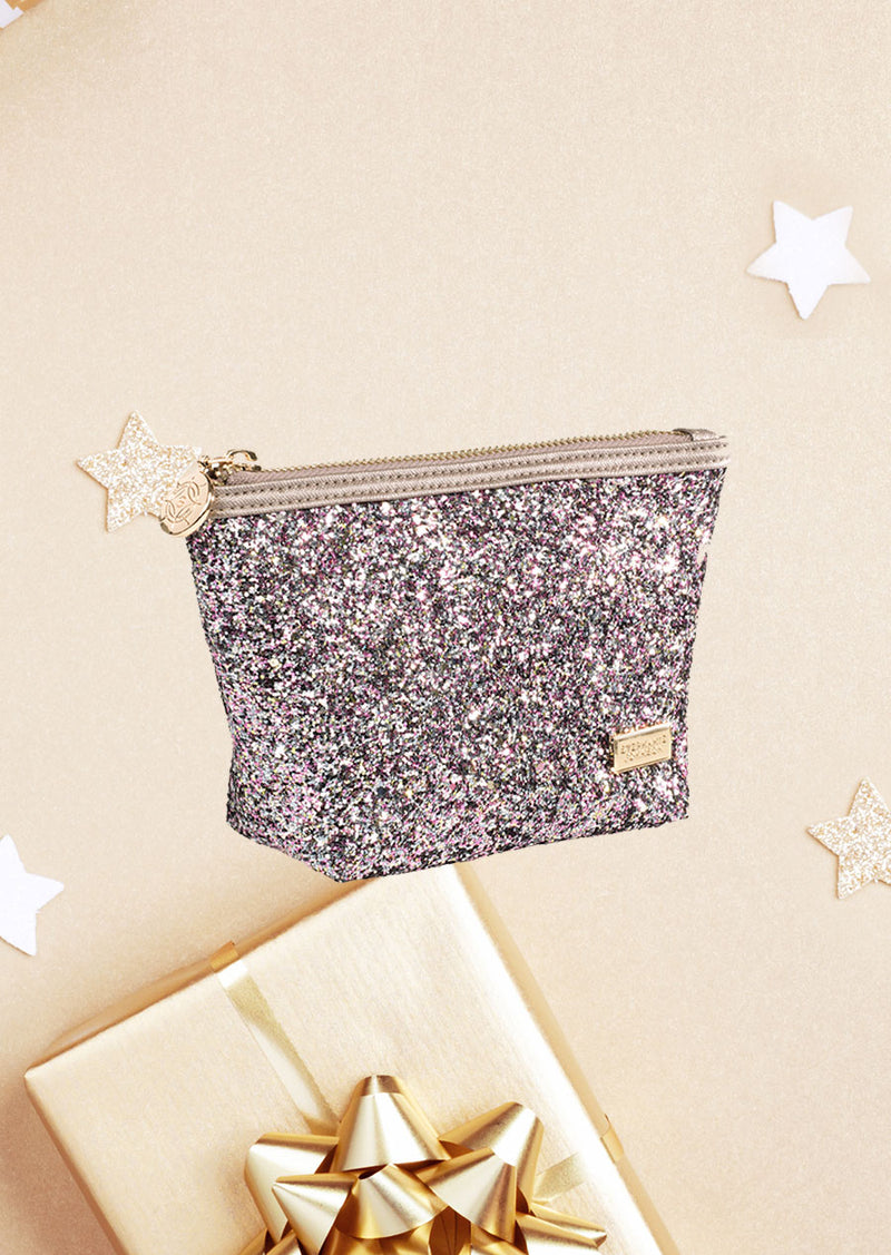 Glitzy Small Trapezoid Cosmetic Bag in pink