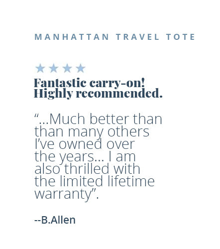 Four-star review of the Manhattan Travel Tote by B. Allen