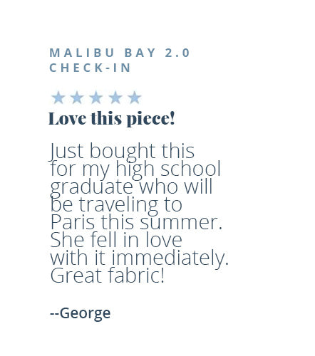 Five-star review of the Malibu Bay 2.0 Checked Suitcase by George