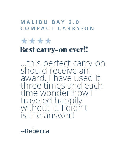 Four-star review of the Malibu Bay 2.0 Compact Carry-On by Rebecca