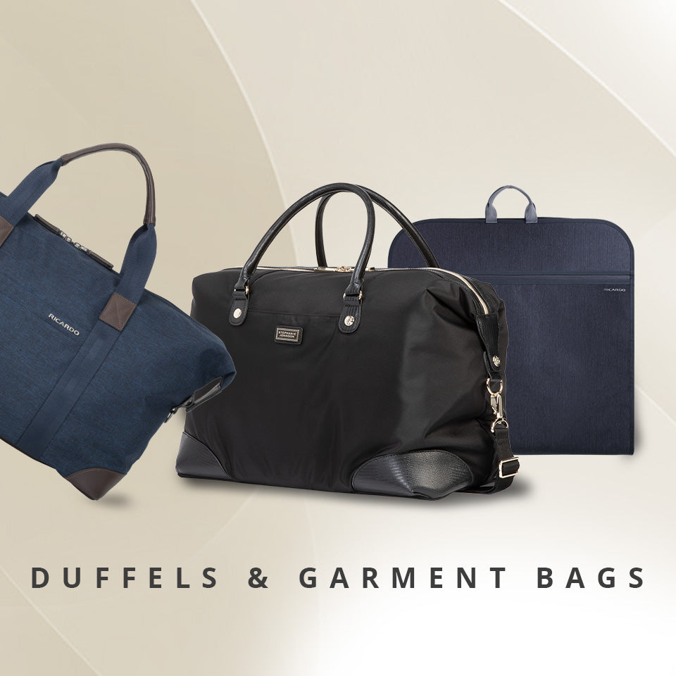 Manhattan duffel in black, Malibu Bay 2.0 Duffel in blue, Garment Carrier in grey.