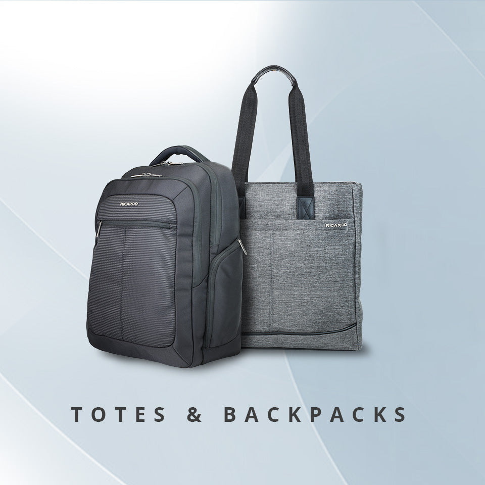 Cupertino backpack in black, Malibu Bay 2.0 tote in grey.
