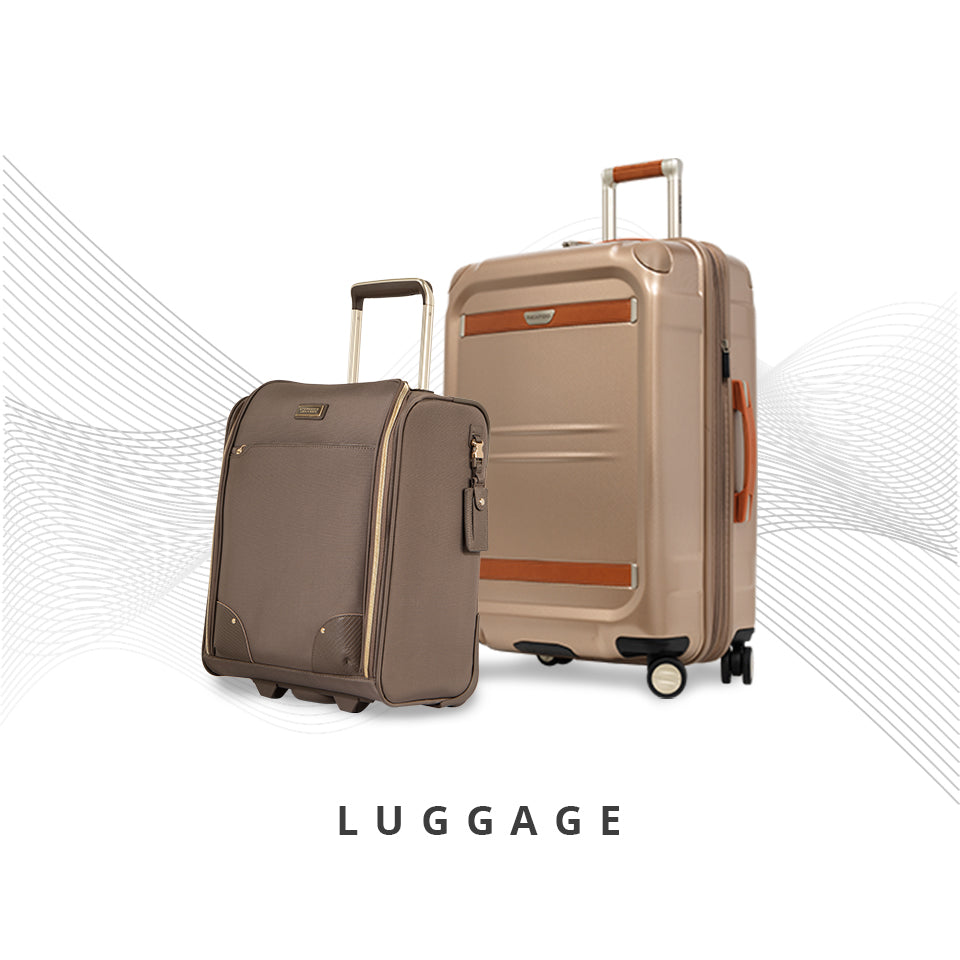Mocha Brown Small Carry-On and Checked Suitcase in Tan