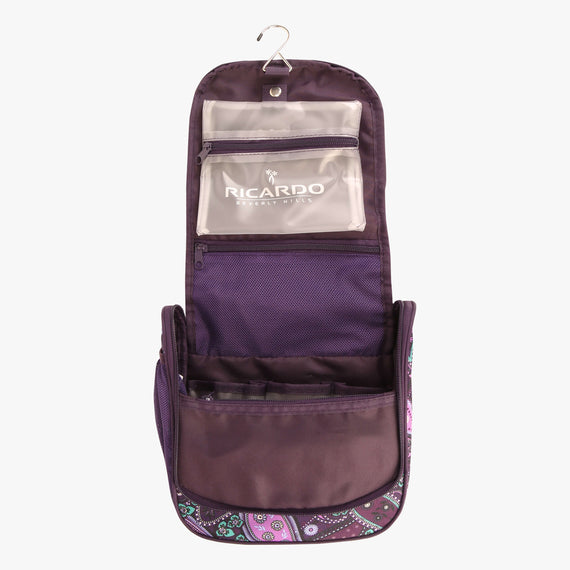 OBSOLETE-10-inch Travel Organizer Ricardo Beverly Hills 10-inch Travel Organizer in Purple Paisley in  in Color:Purple Paisley in  in Description:Opened