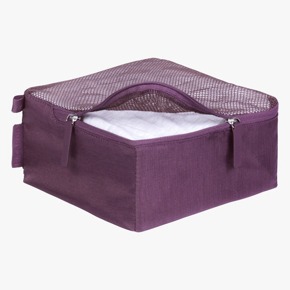 Packing Cubes - Set of Three Essentials 2.0 3-Piece Set in Aubergine Small Open VIew in  in Color:Aubergine in  in Description:Opened