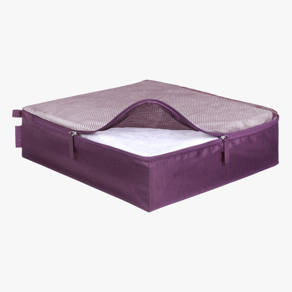 Packing Cubes - Set of Three Essentials 2.0 3-Piece Set in Aubergine Large Open View in  in Color:Aubergine in  in Description:Opened