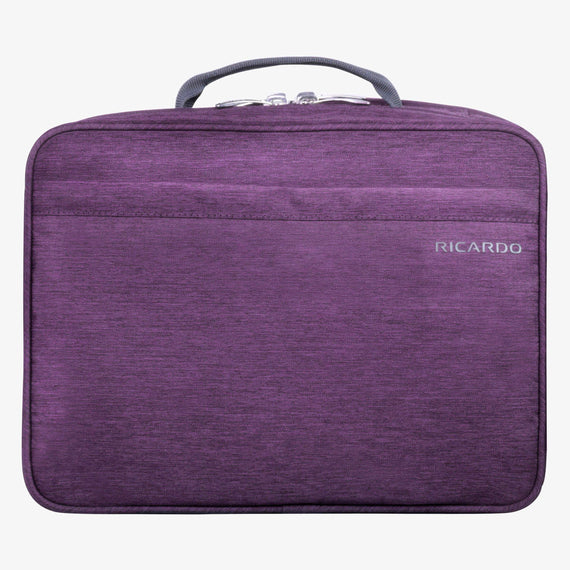Deluxe Toiletry Organizer Essentials 13-inch Organizer in Aubergine Front View in  in Color:Aubergine in  in Description:Front