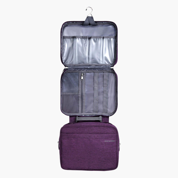 Deluxe Toiletry Organizer Essentials 13-inch Organizer in Aubergine Open View in  in Color:Aubergine in  in Description:Opened