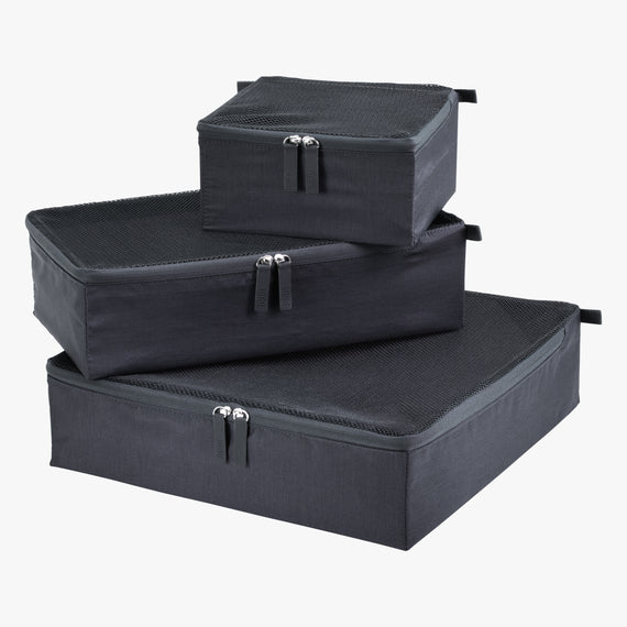 Packing Cubes - Set of Three Essentials 2.0 3-Piece Set in Graphite Set View in  in Color:Graphite in  in Description:Front