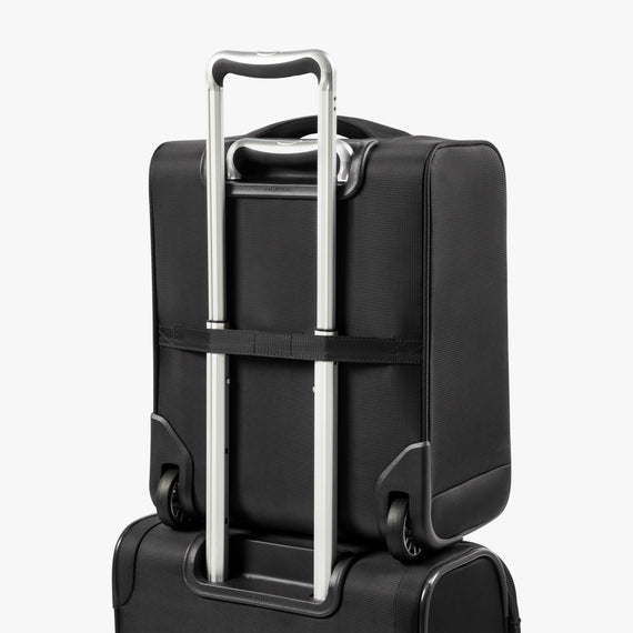 Small Carry-On Seahaven 16-inch Rolling Tote in Black Back Angle View in  in Color:Black in  in Description:Back Angle