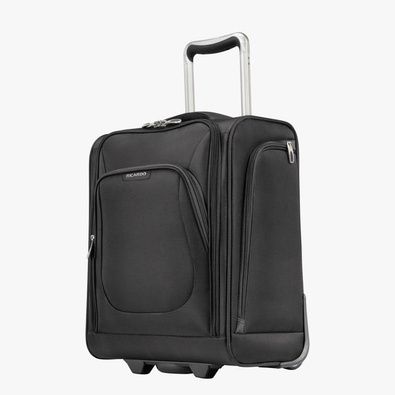 Small Carry-On Seahaven 16-inch Rolling Tote in Black Quarter Front View in  in Color:Black in  in Description:Angled View
