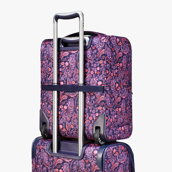 Small Carry-On Seahaven 16-inch Rolling Tote in Pink Paisley Back View in  in Color:Paisley Pink in  in Description:Back