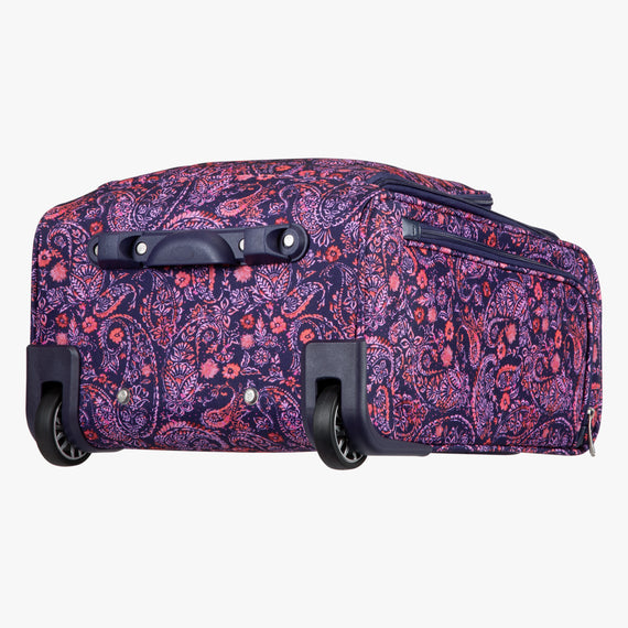 Small Carry-On Seahaven 16-inch Rolling Tote in Pink Paisley Bottom View in  in Color:Paisley Pink in  in Description:Bottom