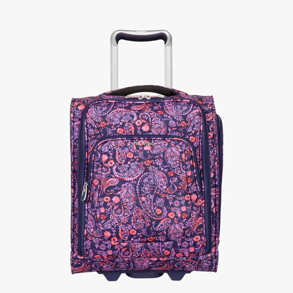 Small Carry-On Seahaven 16-inch Rolling Tote in Pink Paisley Front View in  in Color:Paisley Pink in  in Description:Front