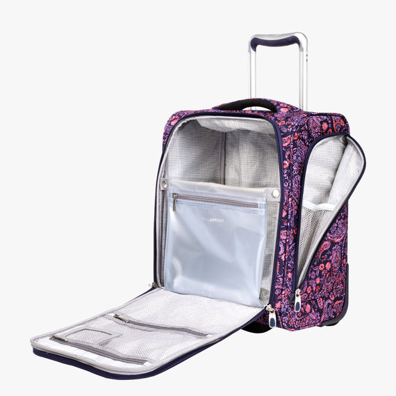 Small Carry-On Seahaven 16-inch Rolling Tote in Pink Paisley Open View in  in Color:Paisley Pink in  in Description:Opened