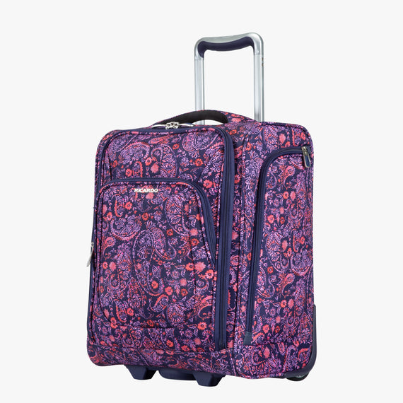 Small Carry-On Seahaven 16-inch Rolling Tote in Pink Paisley Quarter Front View in  in Color:Paisley Pink in  in Description:Angled View