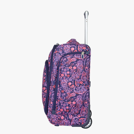 Small Carry-On Seahaven 16-inch Rolling Tote in Pink Paisley Side View in  in Color:Paisley Pink in  in Description:Side