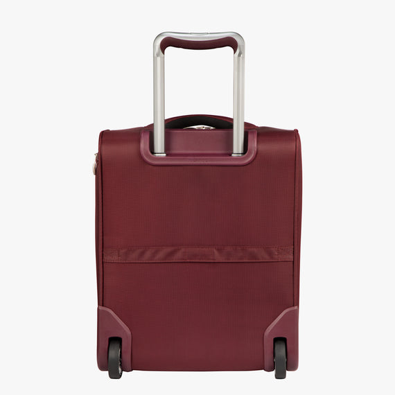 Small Carry-On Seahaven 16-inch Rolling Tote in Currant Back View in  in Color:Currant in  in Description:Back