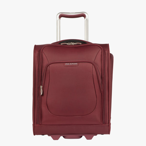 Small Carry-On Seahaven 16-inch Rolling Tote in Currant Front View in  in Color:Currant in  in Description:Front
