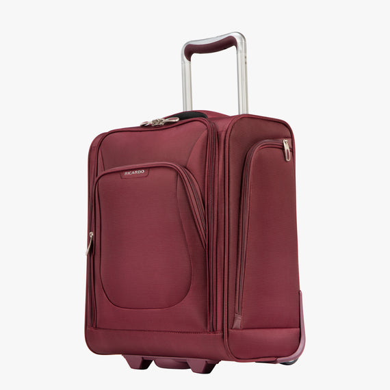 Small Carry-On Seahaven 16-inch Rolling Tote in Currant Quarter Front View in  in Color:Currant in  in Description:Angled View